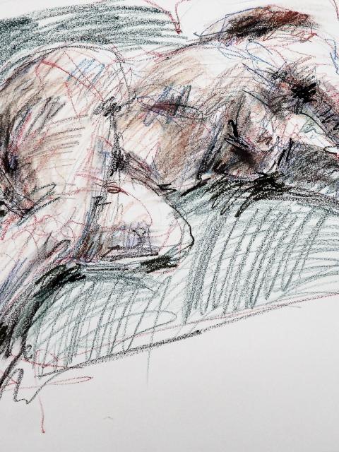 artist drawing Reclining Figure
