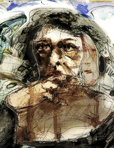 figurative art print Worried