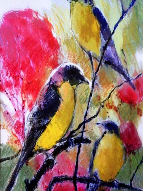 Three birds on branch artwork