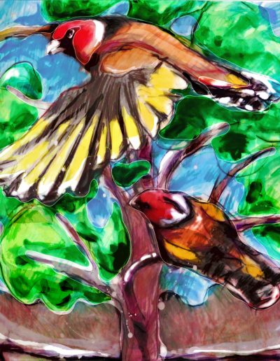 Two birds in tree - Mittagong artist multimedia