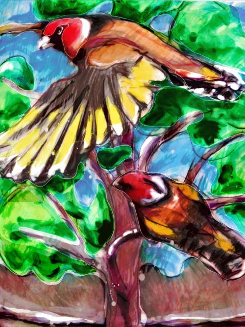 Two birds in tree - Mittagong artist multimedia