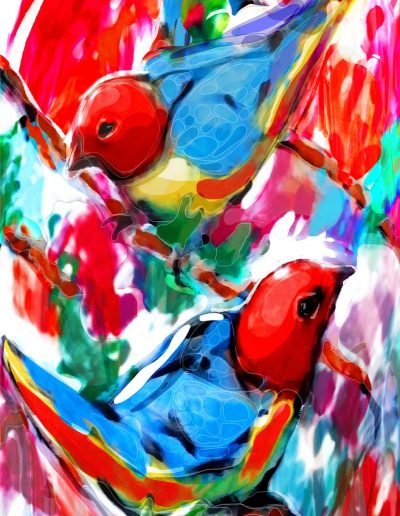 Multimedia artwork with digital - Two birds