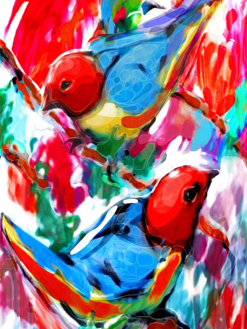 Multimedia artwork with digital - Two birds
