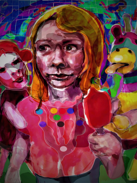 """""""Child With Ice Block With Friends"""", 300gsm paper multi media artwork by Hank Spirek."""