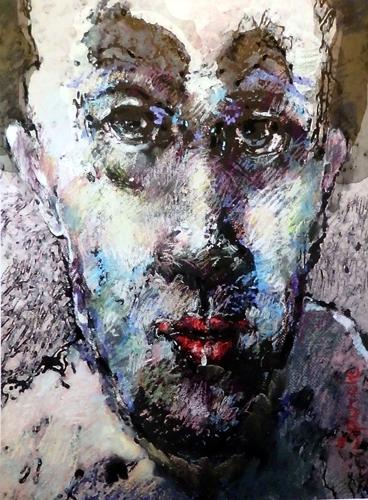 """Face"" mixed media artwork on paper, 47cm x 66cm"